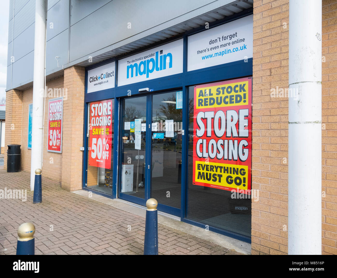 Maplin store closing down sale at Bridge Retail Park, Telford, Shropshire, England, UK. - Stock Image