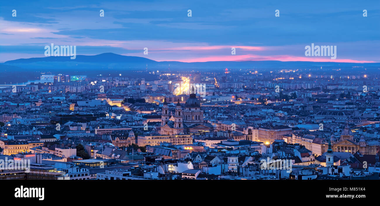 Budapest city night panorama - Stock Image
