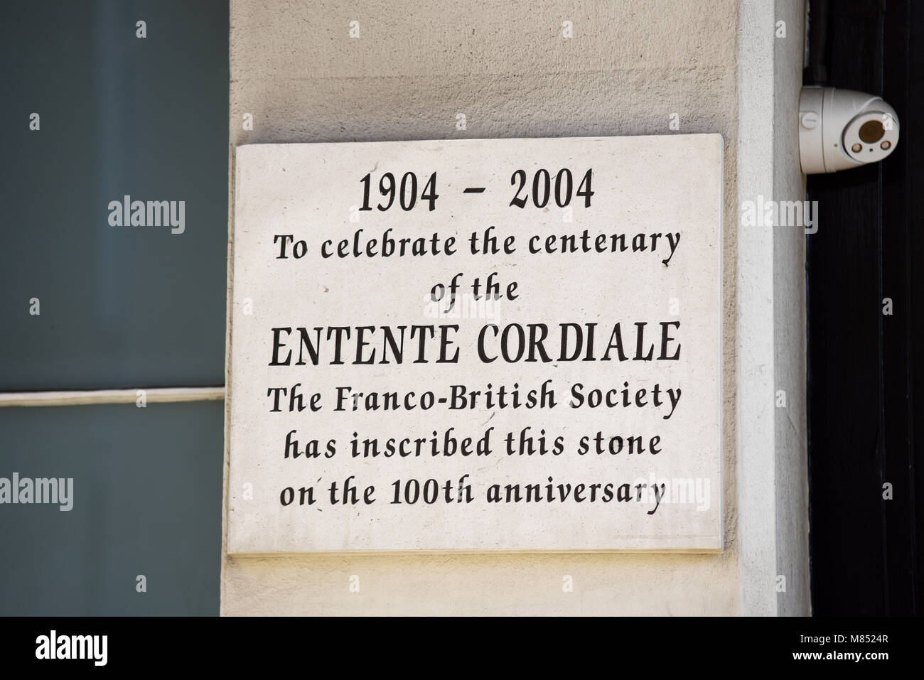Embassy of France in London is the diplomatic mission of France to the United Kingdom. Entente Cordiale centenary - Stock Image