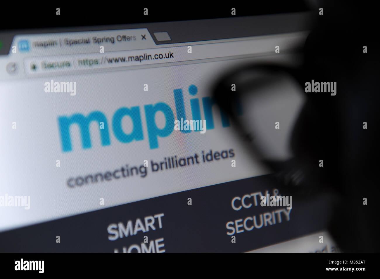 The Maplin website maplin.co.uk on a computer screen - Stock Image