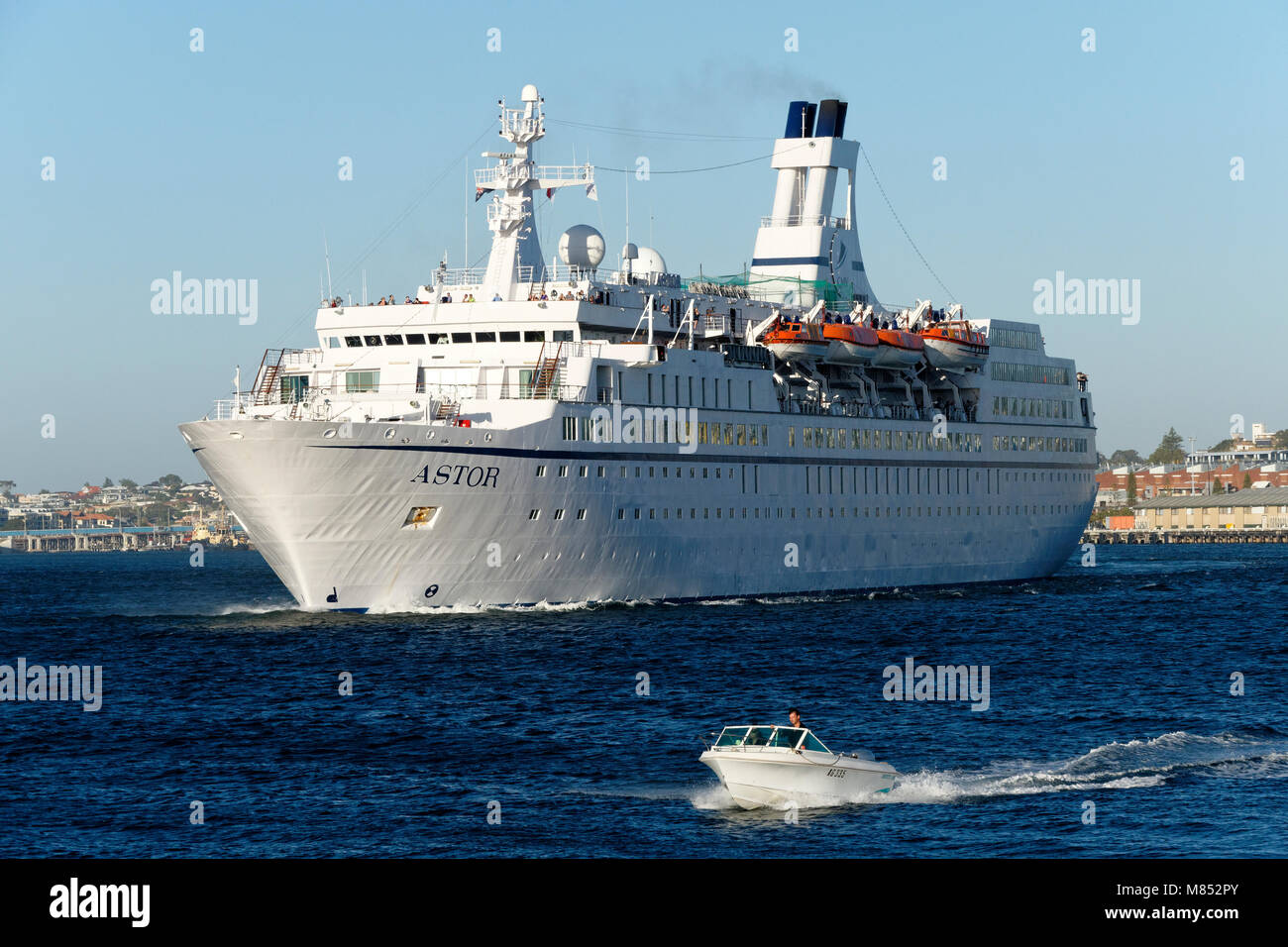 Cruise ship Astor departing from Fremantle, Western Australia - Stock Image