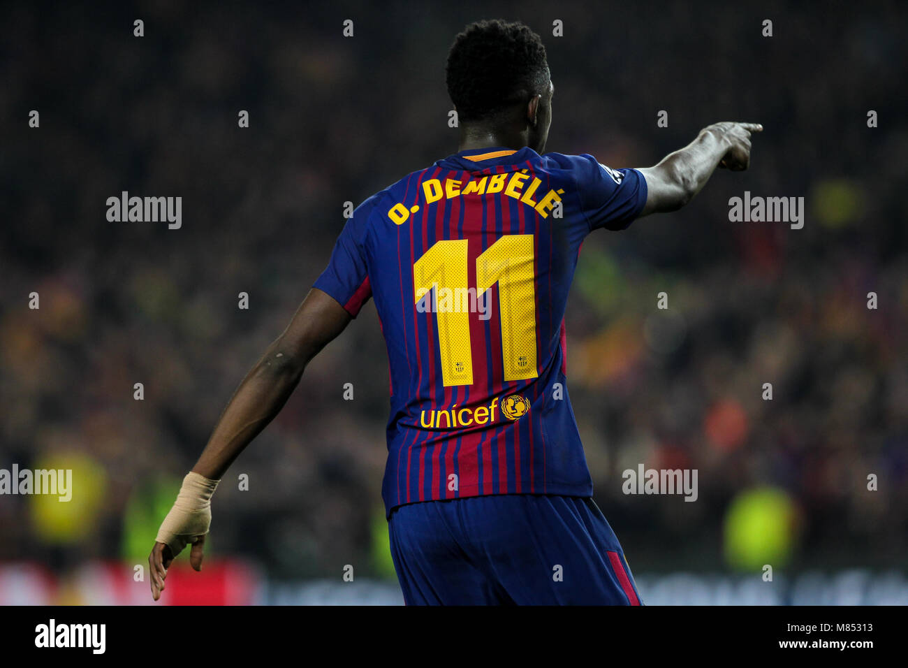 f44760a29e6 Barcelona, Spain. 14th Mar, 2018. 14th March 2018; Ousmane Dembele, #11  player of FC Barcelona celebrates his goal during the 2017/2018 UEFA  Champions ...