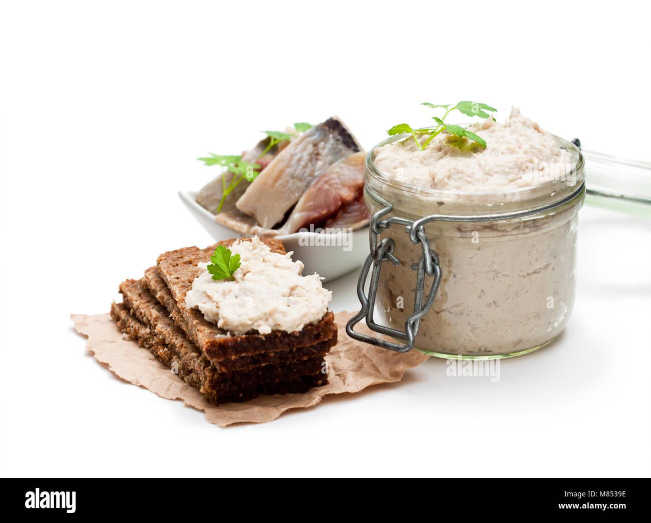 Forshmak  paste from herring isolated on white - Stock Image