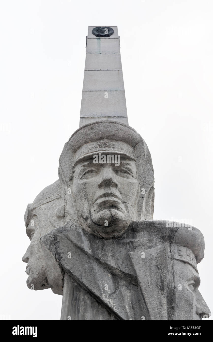 Petropavlovsk Kamchatsky: fragment of Monument of Kamchatka Frontier-Guards Glory on Dzerzhinsky Square. Photo taken - Stock Image