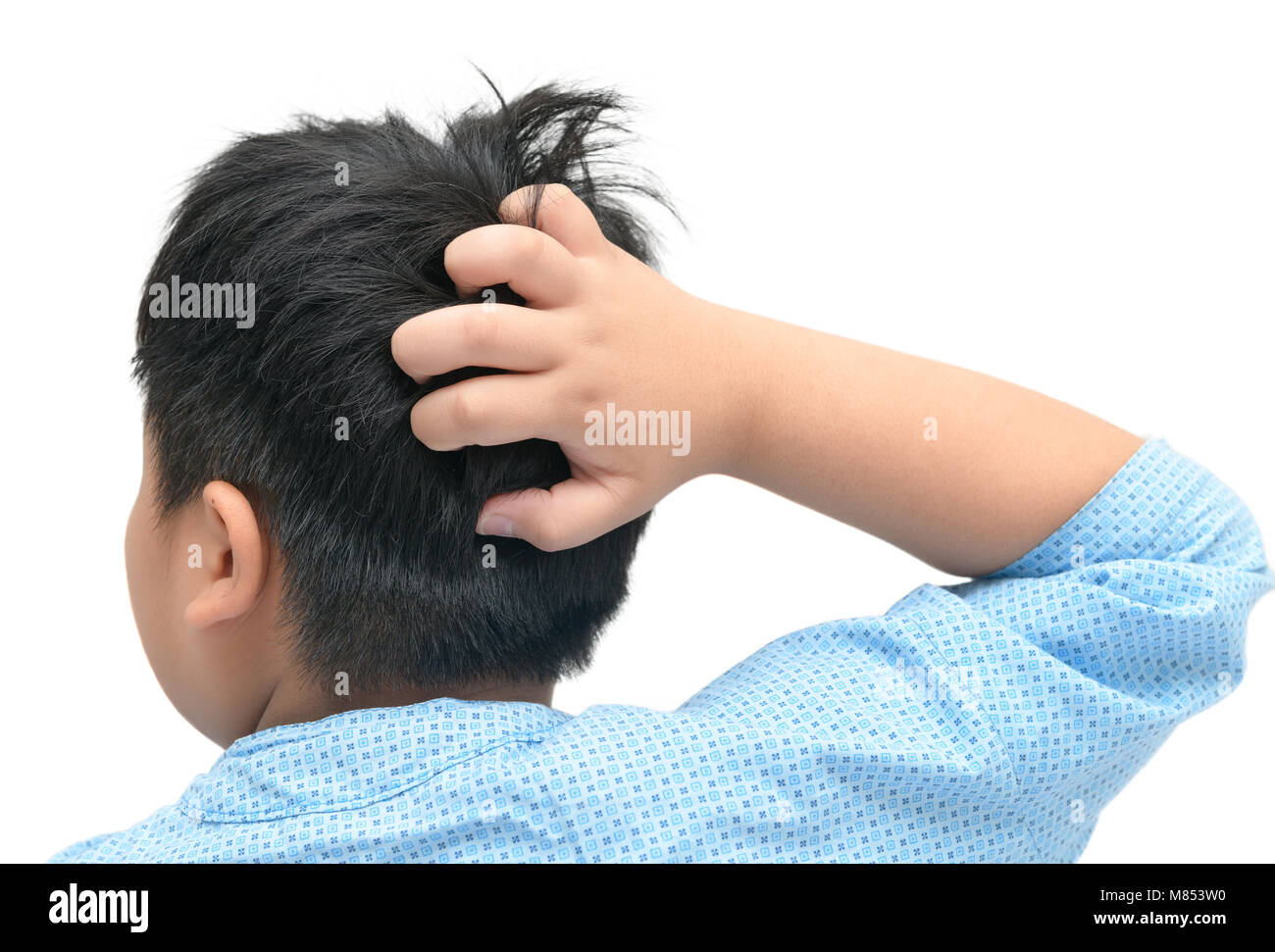 Boy scratch the itch with hand isolated on white background, Concept with Healthcare And Medicine. Stock Photo