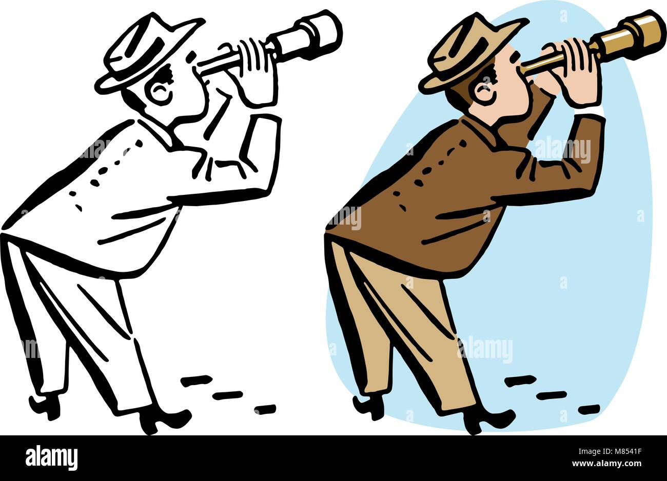 A man peers through a telescope spying on someone. - Stock Vector