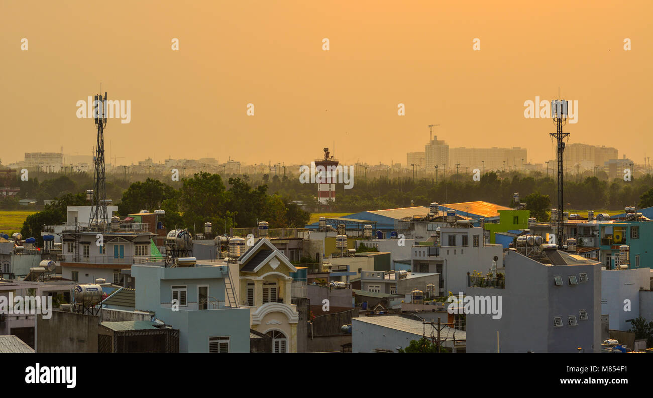 Saigon, Vietnam - Mar 11, 2018. Sunset on Saigon, Vietnam. Saigon (Ho Chi Minh City) is the largest city in Vietnam Stock Photo