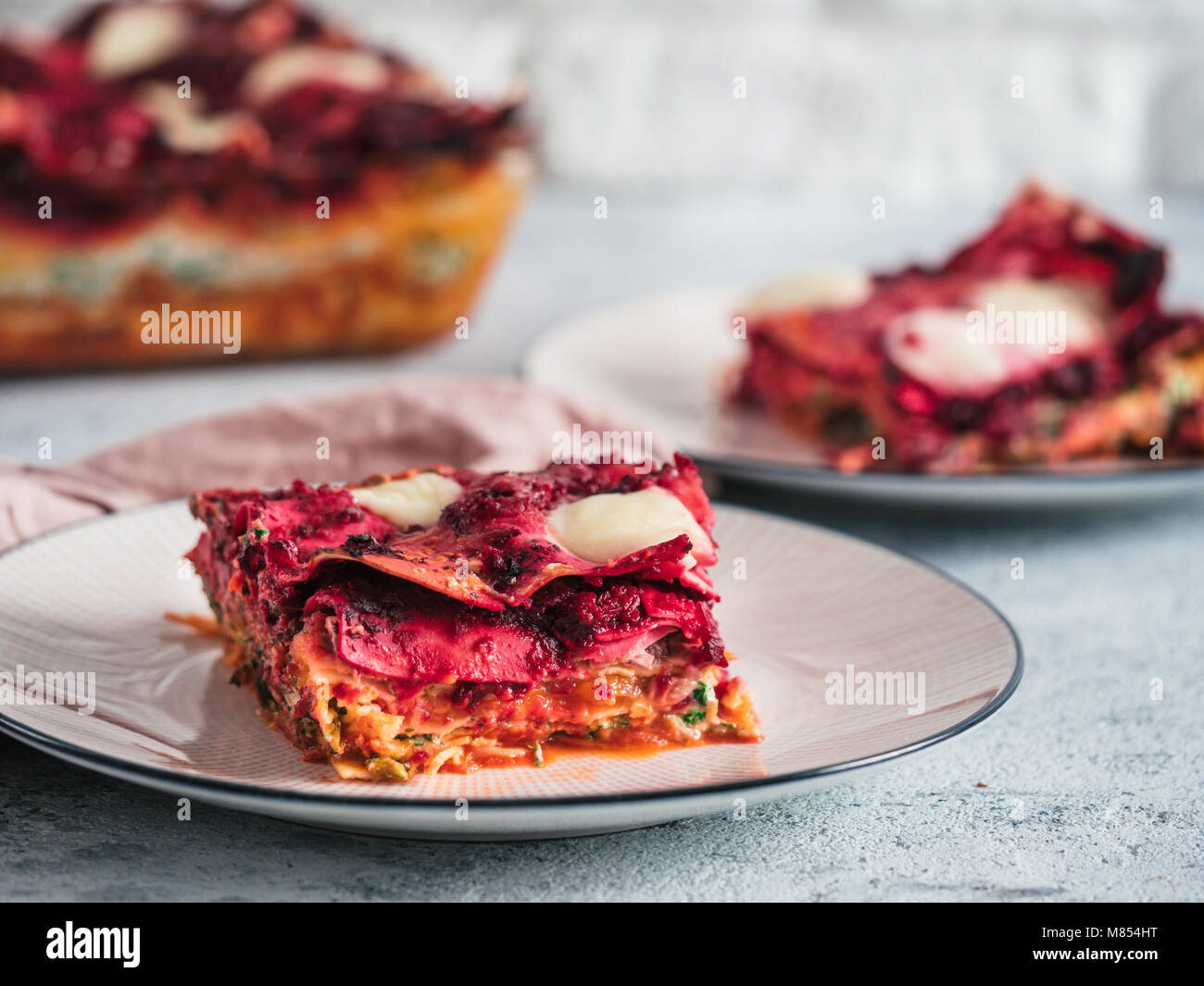 Vegetable rainbow lasagne - Stock Image