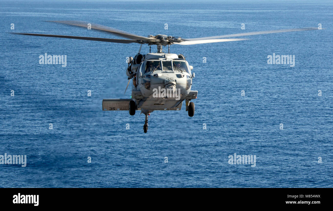 180312-N-JS726-0163 MEDITERRANEAN SEA (March 12, 2018) An MH-60S Sea Hawk, attached to Helicopter Sea Combat Squadron Stock Photo