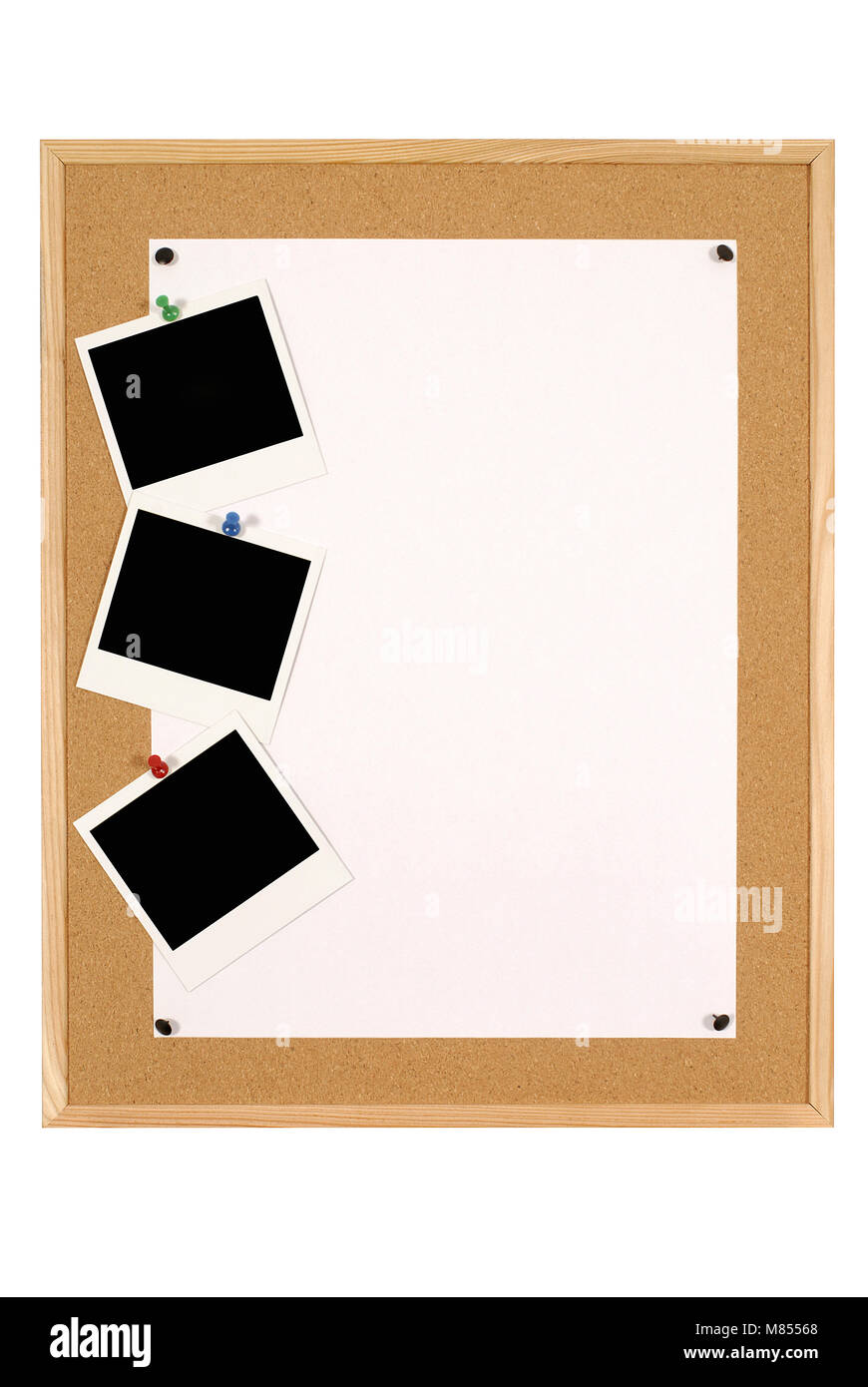 Cork notice or bulletin board with wood frame and large sheet of ...