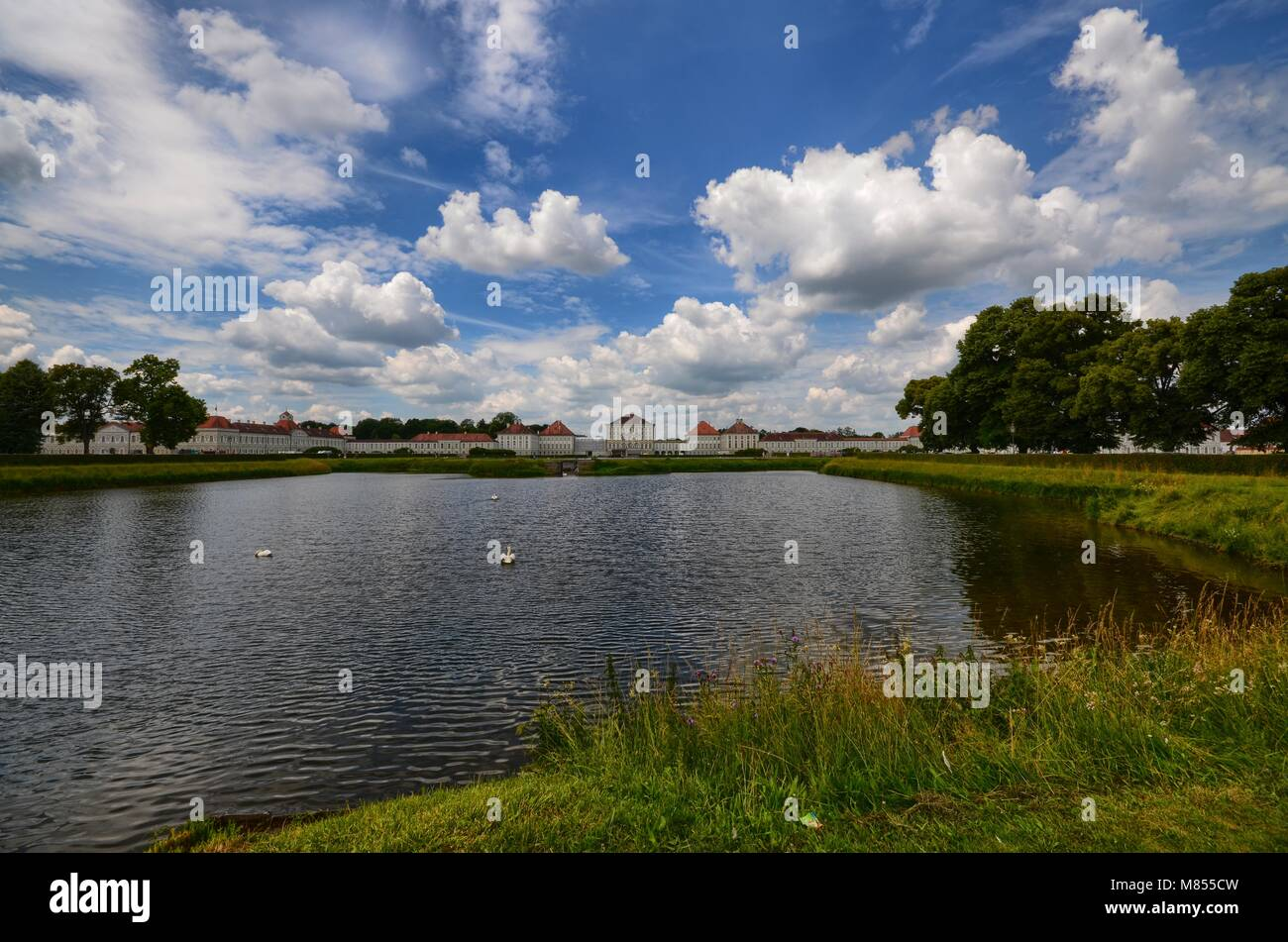 View of the Nymphenburg castle. Munich, Bavaria, Germany June 26, 2015 1:00 pm - Stock Image
