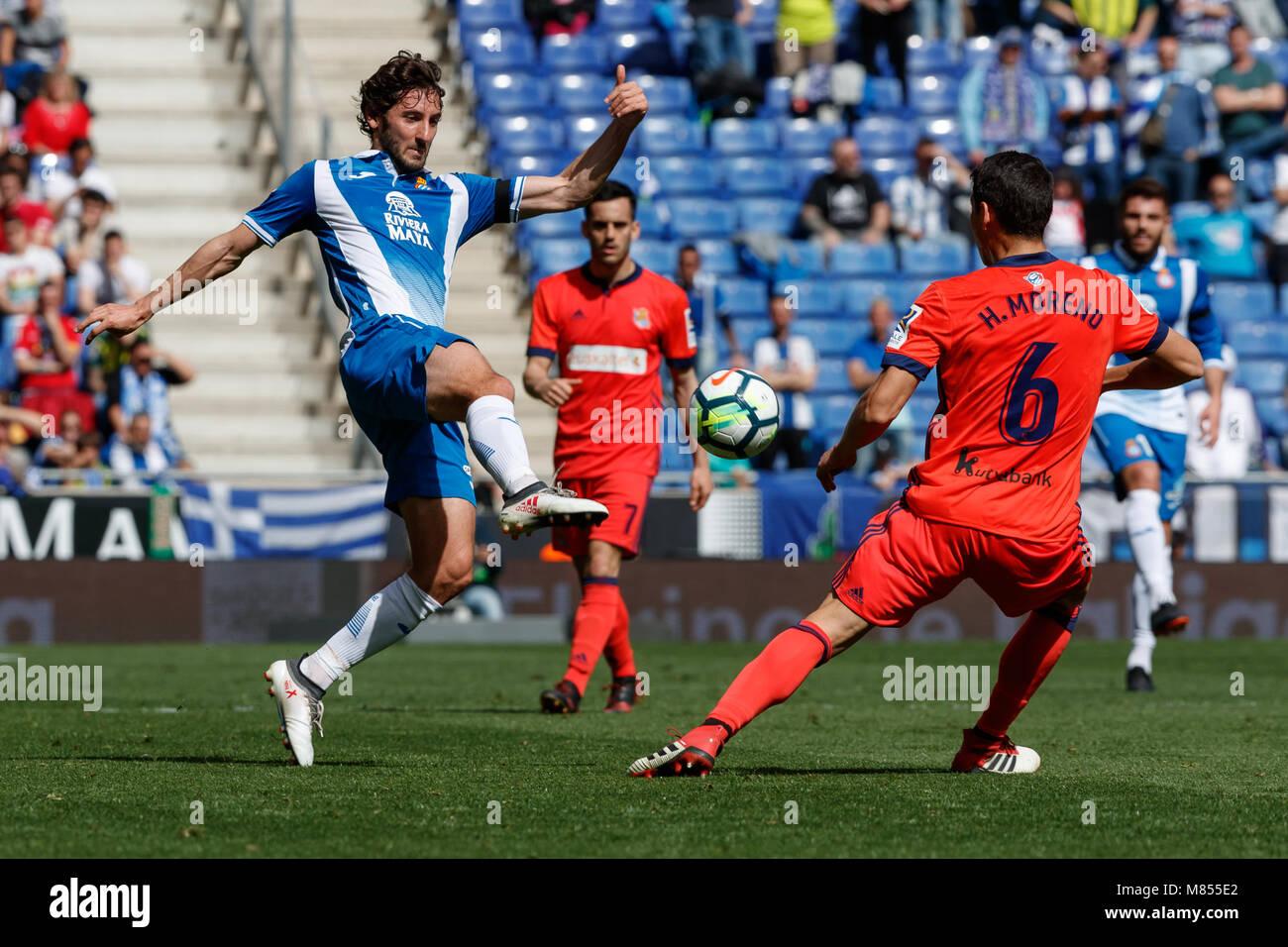 BARCELONA, SPAIN - MARCH 11:  Esteban Granero, #23 of RCD Espanyol in action with Hector Moreno, #6 of Real Sociedad - Stock Image