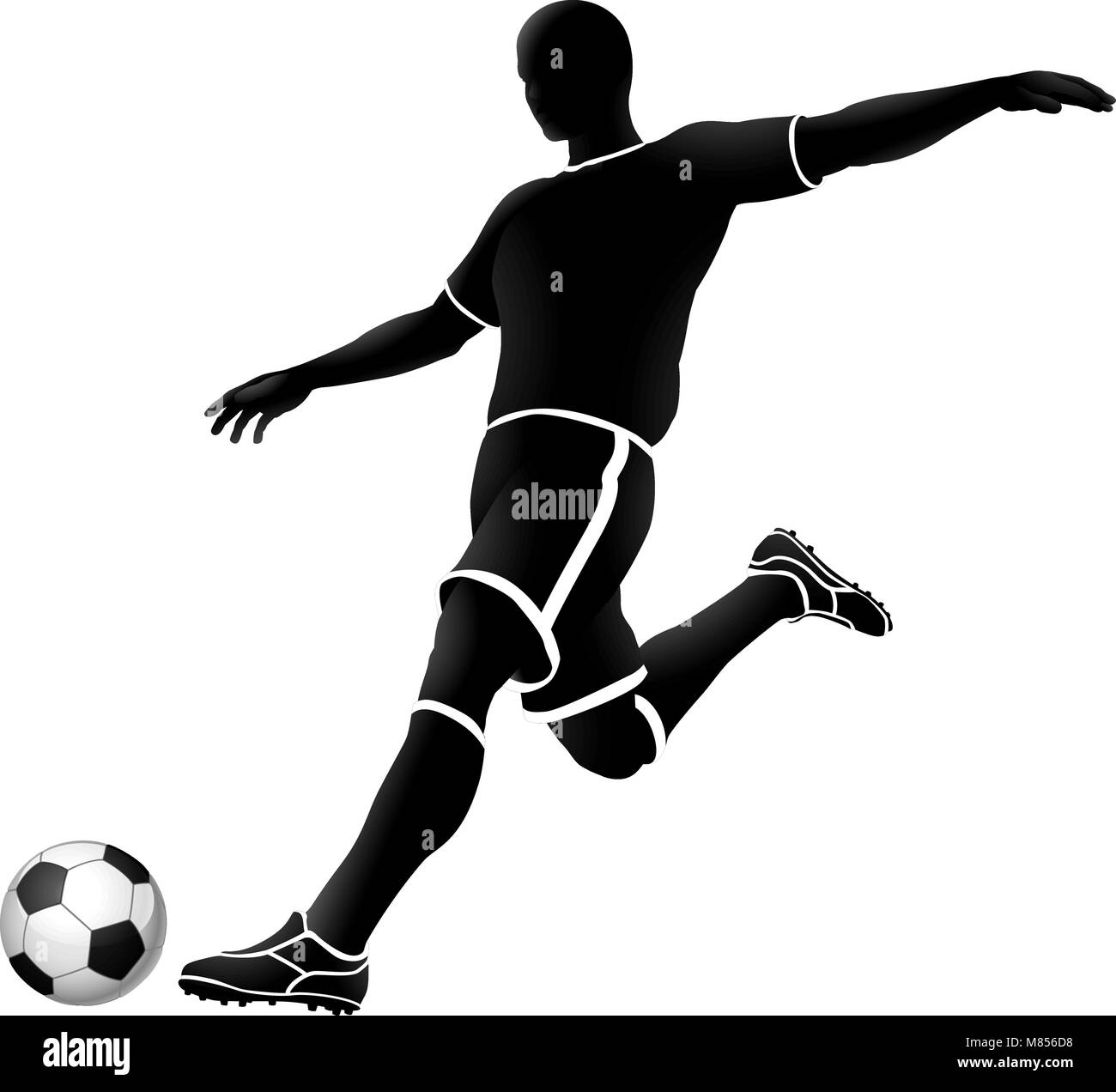 soccer silhouette bw 2018 A3-02 [Converted] - Stock Vector