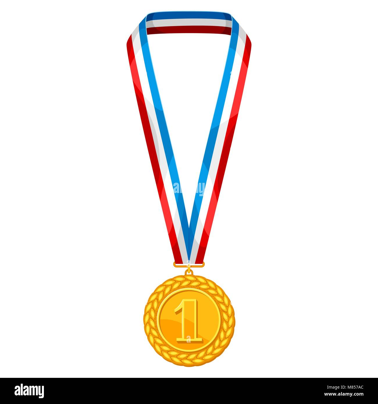 Realistic gold medal with multi colored ribbon. Illustration of award for sports or corporate competitions - Stock Vector