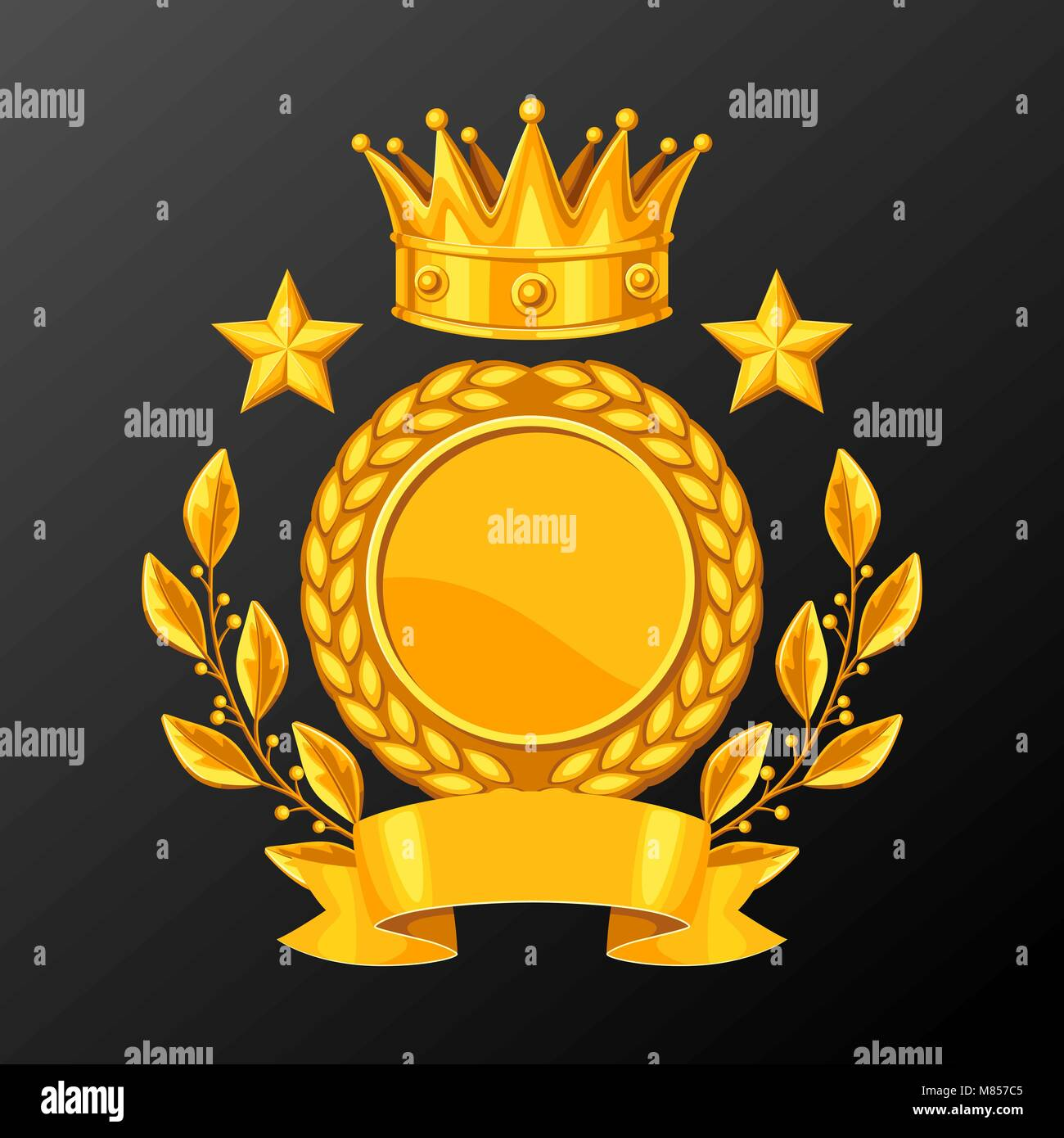 Realistic gold cup with laurel wreath. Illustration of award for sports or corporate competitions - Stock Vector