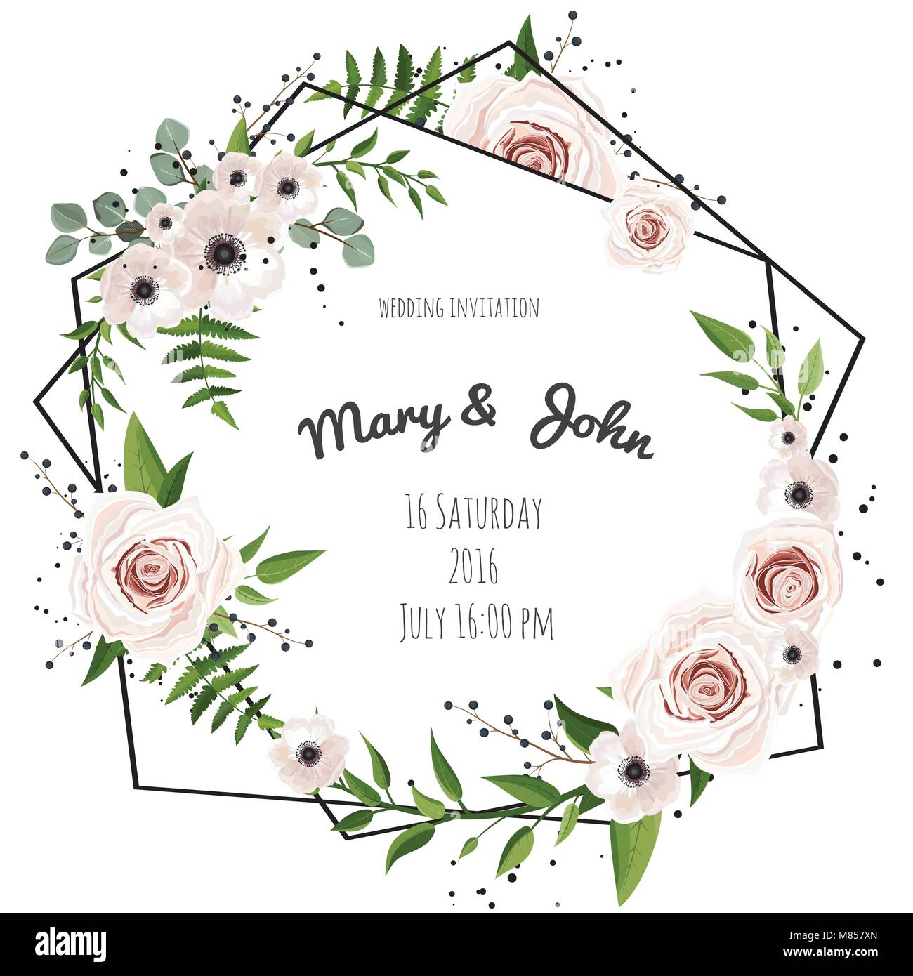 Wedding Invitation Modern Card Design Green Eucalyptus Leaves Flower Rose Anemone Vector Elegant Watercolor Rustic Template Frame Border With Co