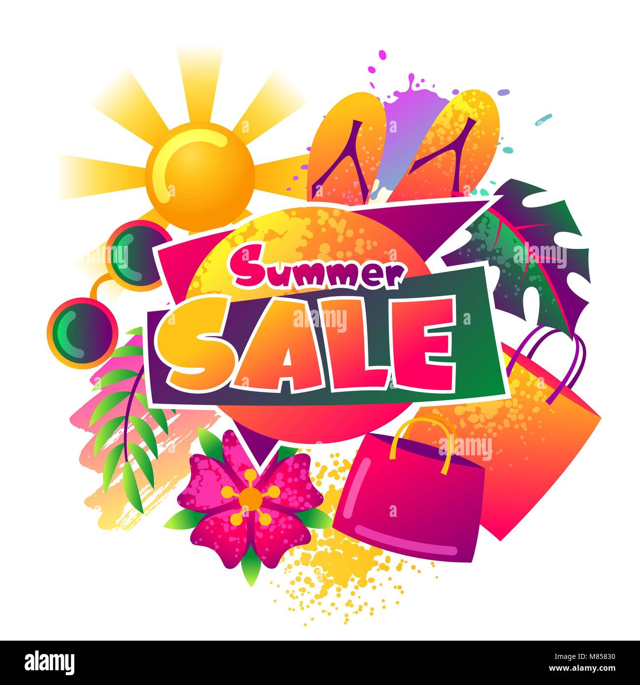 Summer sale background with colorful elements. Sun, palm leaves and shopping bags - Stock Image