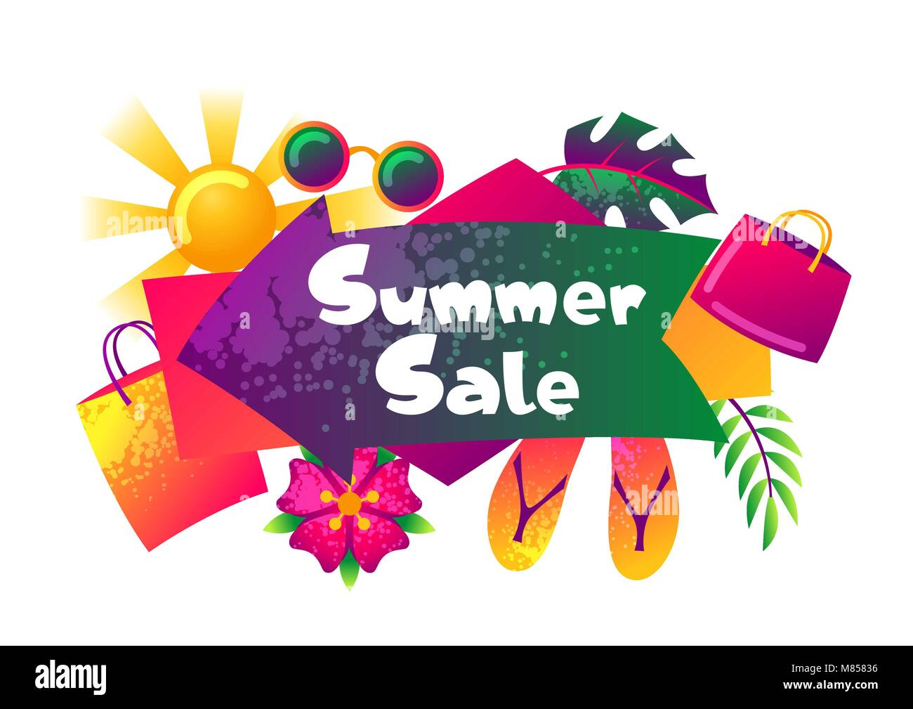 Summer sale banner with colorful elements. Sun, palm leaves and shopping bags - Stock Image