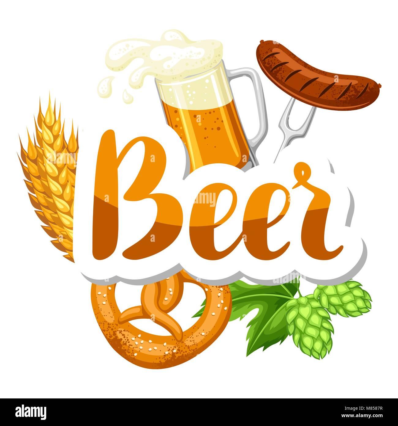 Oktoberfest beer festival. Illustration or poster for feast - Stock Image