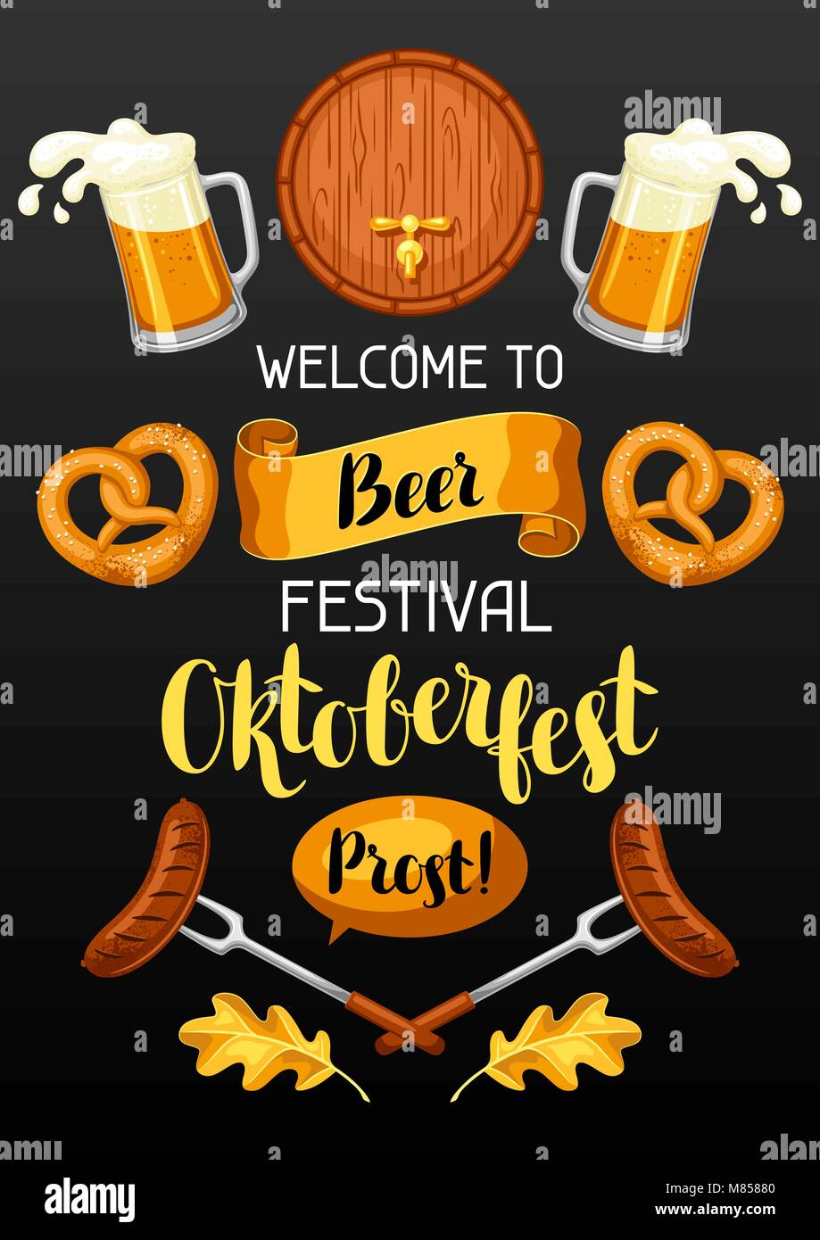 Oktoberfest. Welcome to beer festival. Invitation flyer or poster for feast Stock Vector