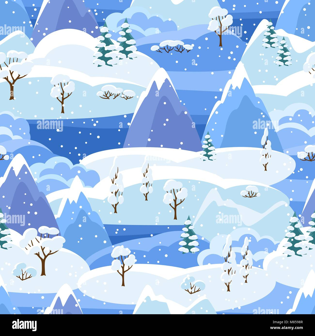 Winter seamless pattern with trees, mountains and hills. Seasonal landscape illustration - Stock Vector