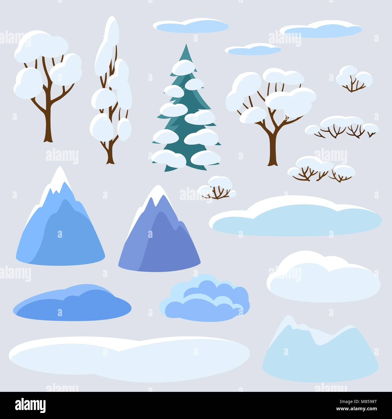 Winter set of trees, mountains and hills. Seasonal collection - Stock Vector