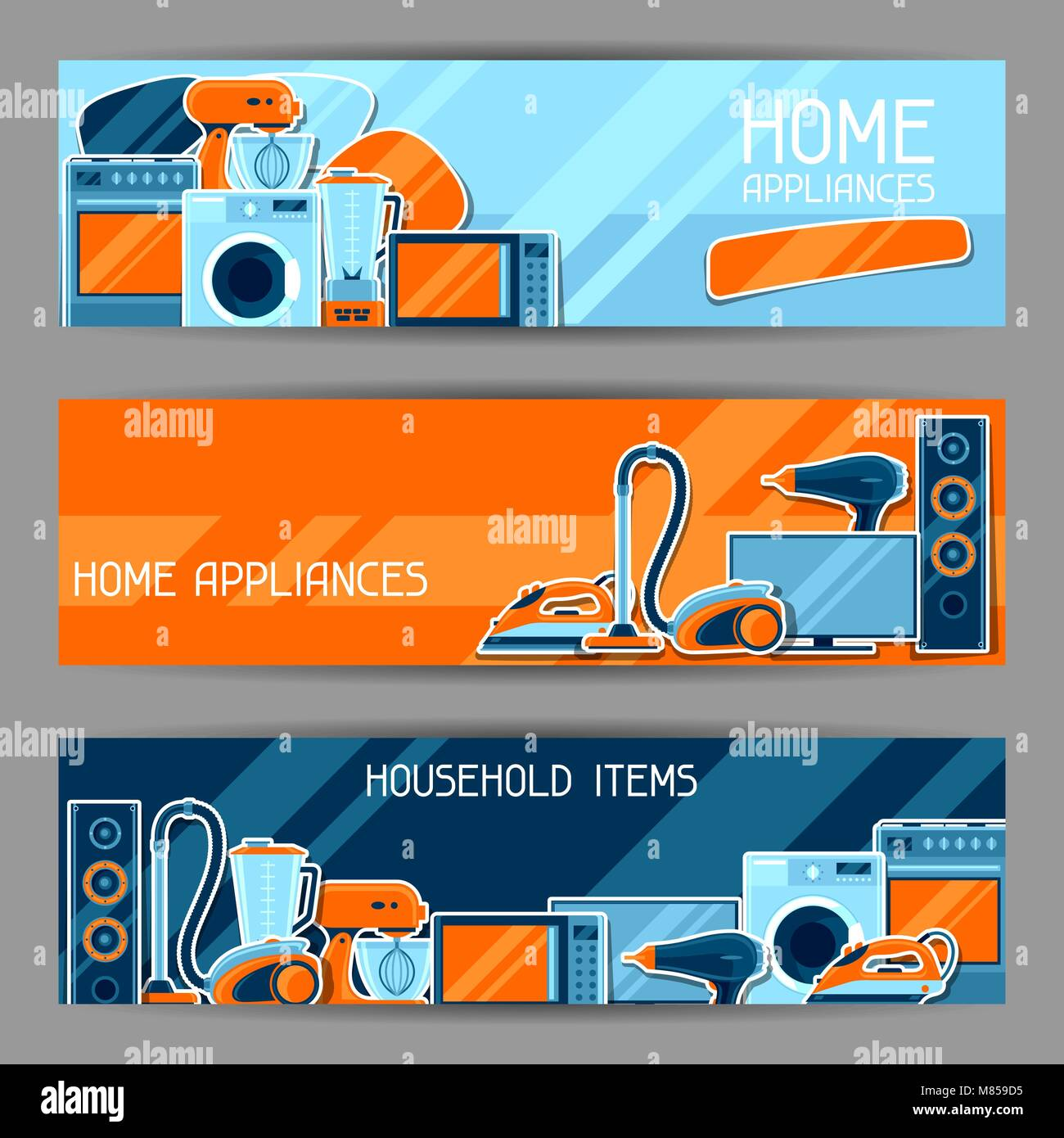banners with home appliances household items for sale and shopping advertising poster