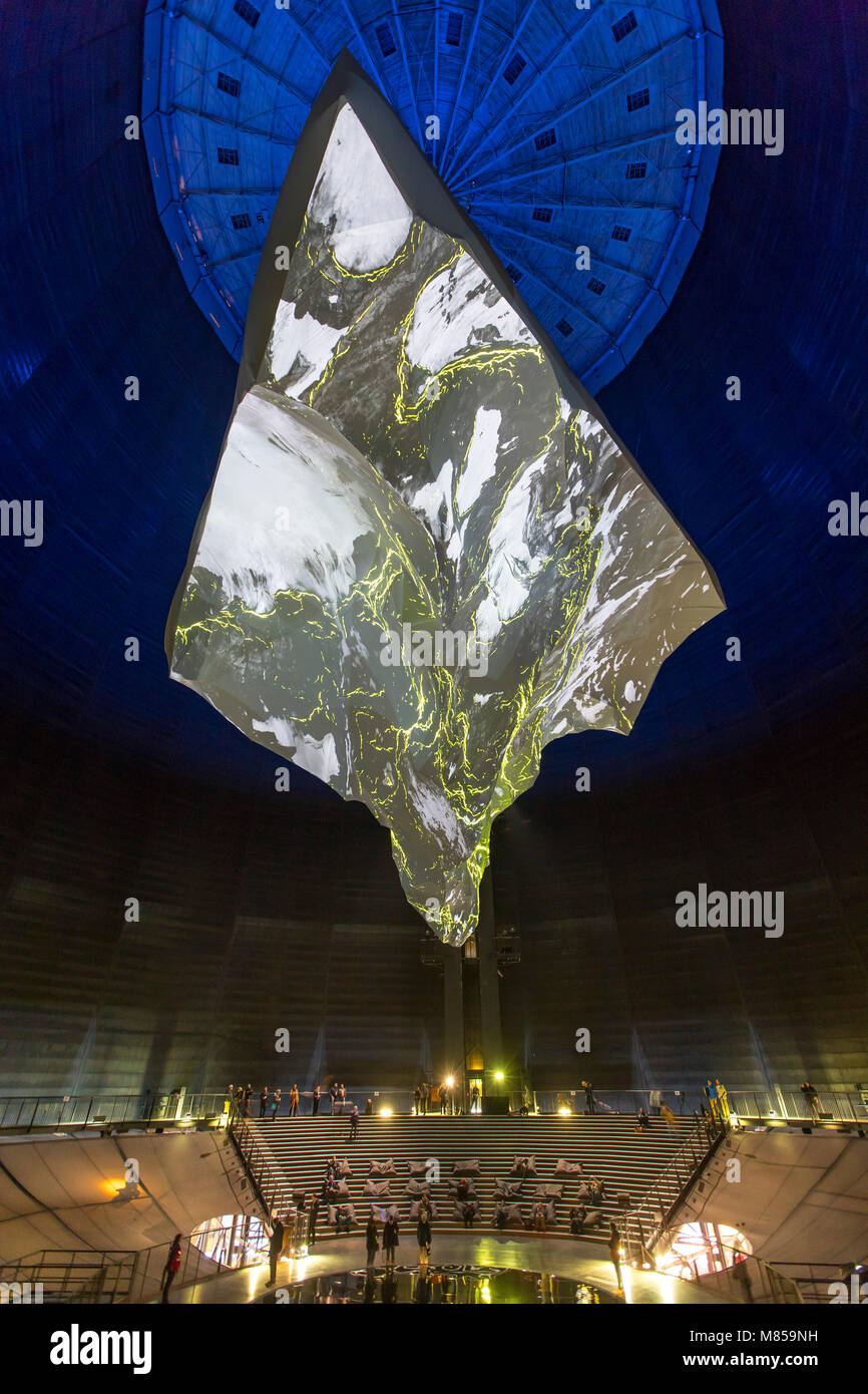 Oberhausen, Gasometer exhibit hall, Germany, exhibition 'The Mountain Calls', about the adventures, nature - Stock Image