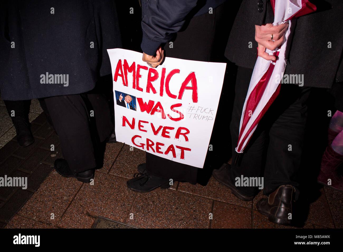 Trump Anti-Racism Rally 2017, Cardiff - Stock Image