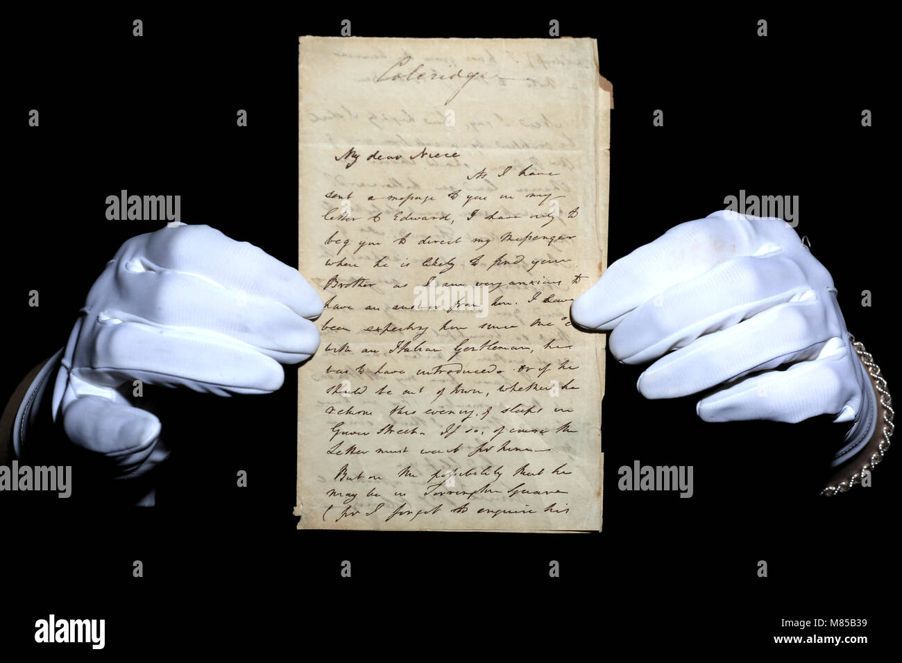 A copy of a two page signed letter from the English poet Samuel Taylor Coleridge to his neice Fanny Patteson.  The - Stock Image