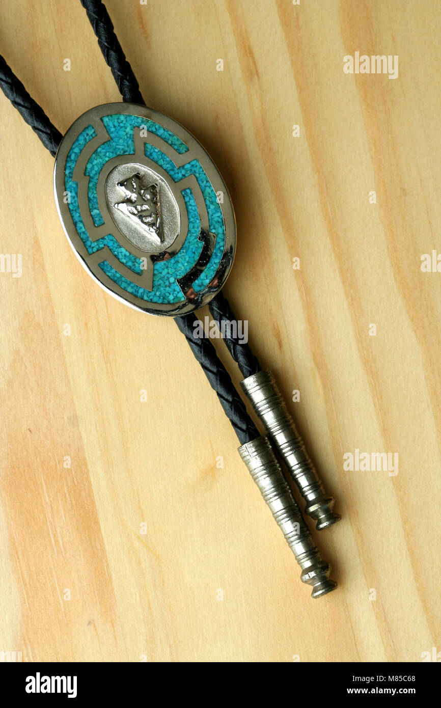 Silver and turquoise bolo tie - Stock Image