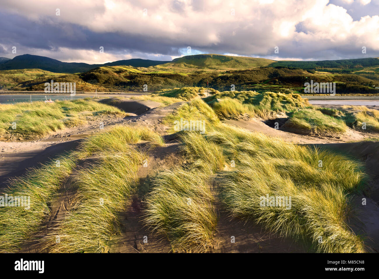 A winter view across the sand dunes of Barmouth Beach looking towards Mawddach Estuary, North Wales. Stock Photo