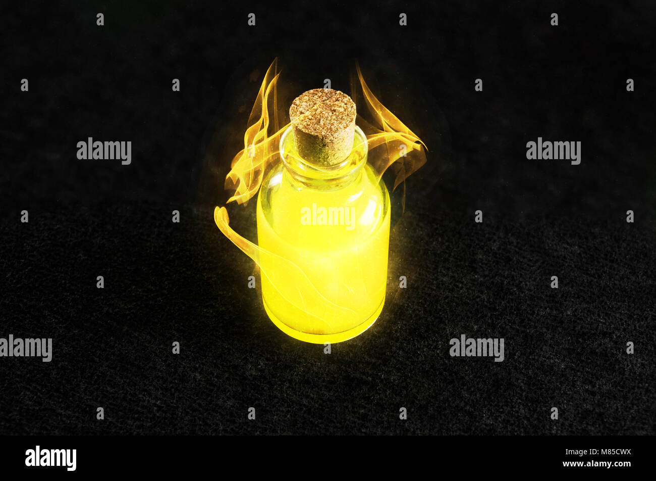 Golden magical liquid concept. Gaming power potion. Healing and mana potion. Vibrant liquid with a magic spell around. - Stock Image