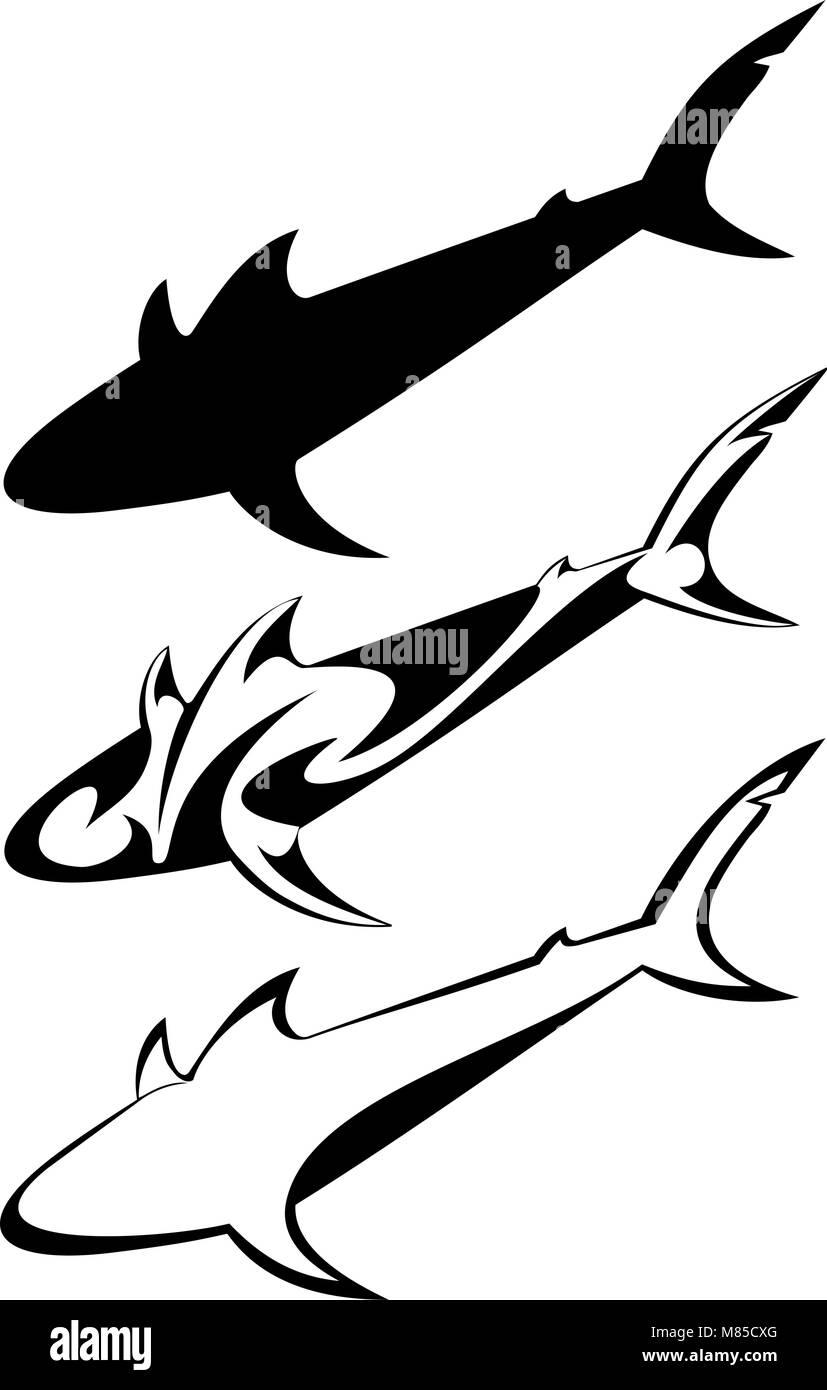 a6db2b790 Set of three tribal shark tattoos Stock Vector Art & Illustration ...