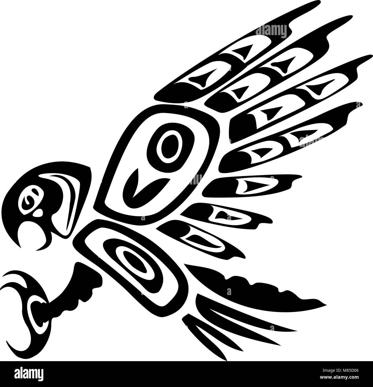 A Tribal Haida Eagle Tattoo Stock Vector Art Illustration