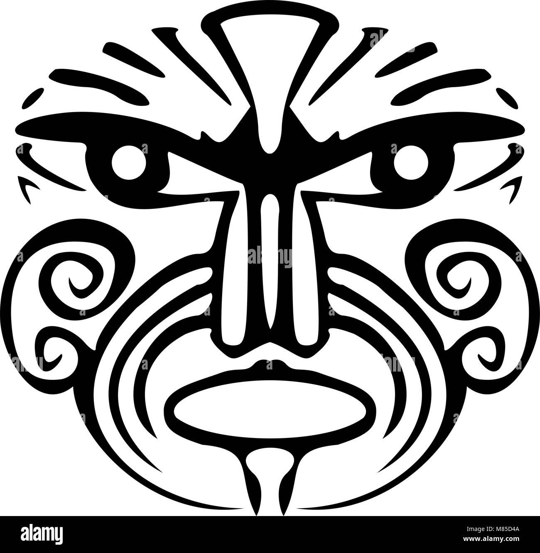 2c54bd0536305 A tribal black Maori face tattoo Stock Vector Art & Illustration ...