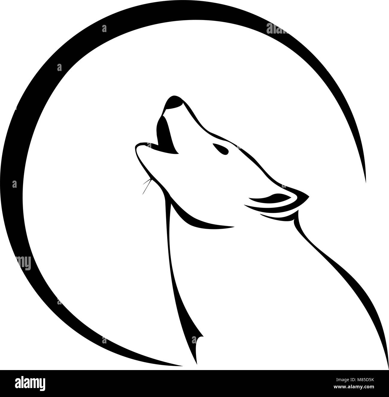 Tribal Wolf Howling At The Moon Stock Vector Art Illustration