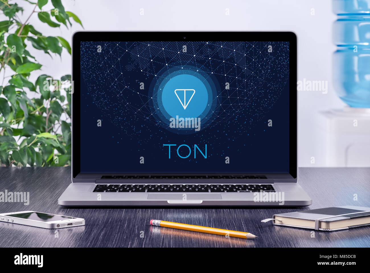 Telegram Open Network TON white paper cover with TON logo on macbook screen. Telegram TON by Durov is the future - Stock Image