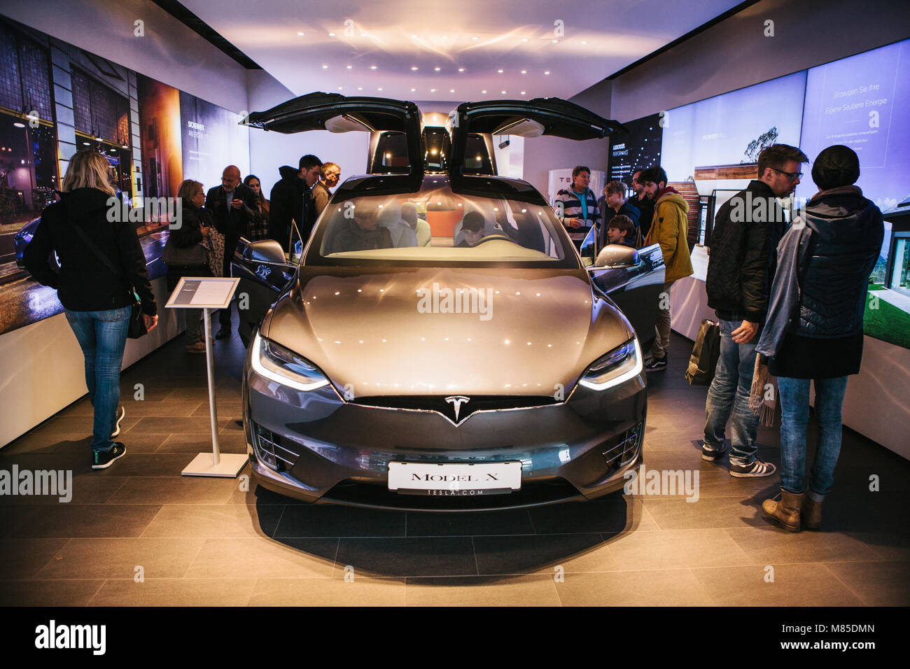 Presentation of an electric vehicle Tesla model X at the Tesla motor show in Berlin. - Stock Image