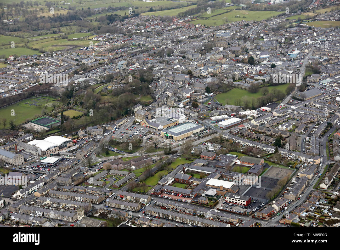 aerial view of Clitheroe, including Sainsburys - Stock Image