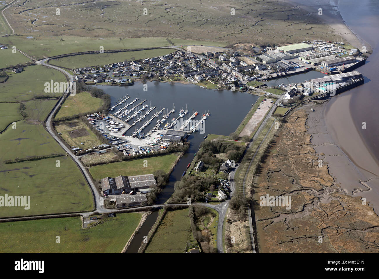 aerial view of Glasson Basin Marina, Lancashire - Stock Image