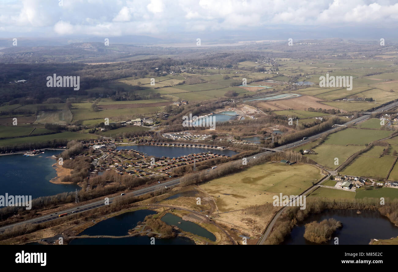 aerial view of South Lakeland Leisure Village with lodges near Carnforth, Lancashire, UK - Stock Image