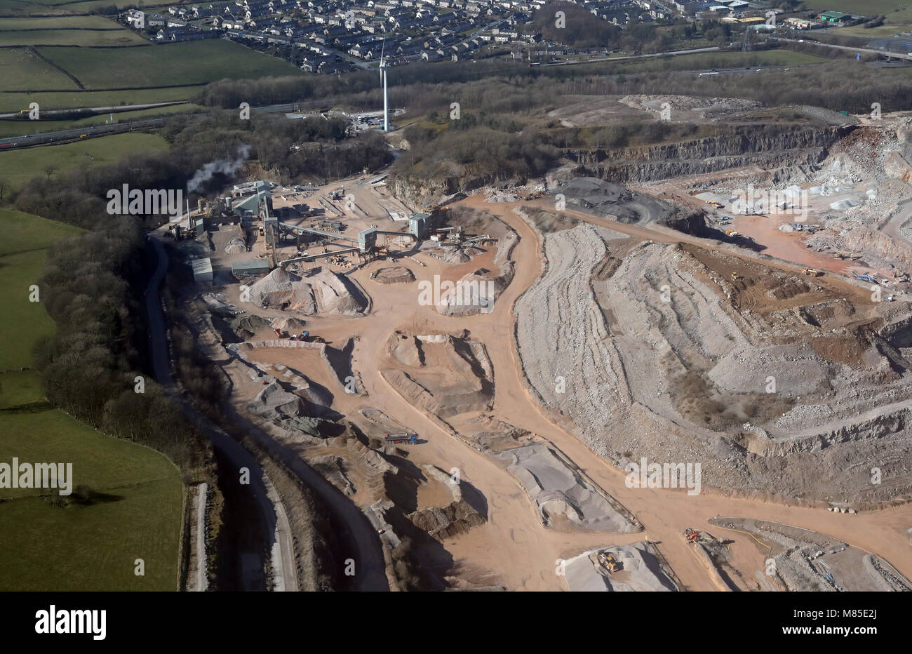 aerial view of a sand extraction quarry run by Aggregate Industries at Carnforth, Lancashire, UK - Stock Image