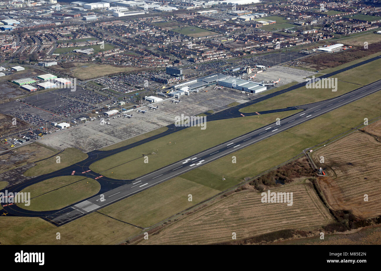 aerial view of the runway at Liverpool John Lennon Airport, UK - Stock Image