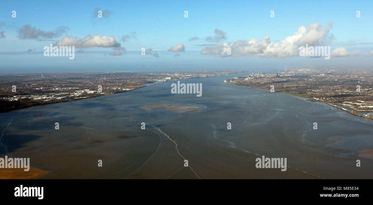 aerial view of the Mersey Estuary between Liverpool and Birkenhead, UK - Stock Image