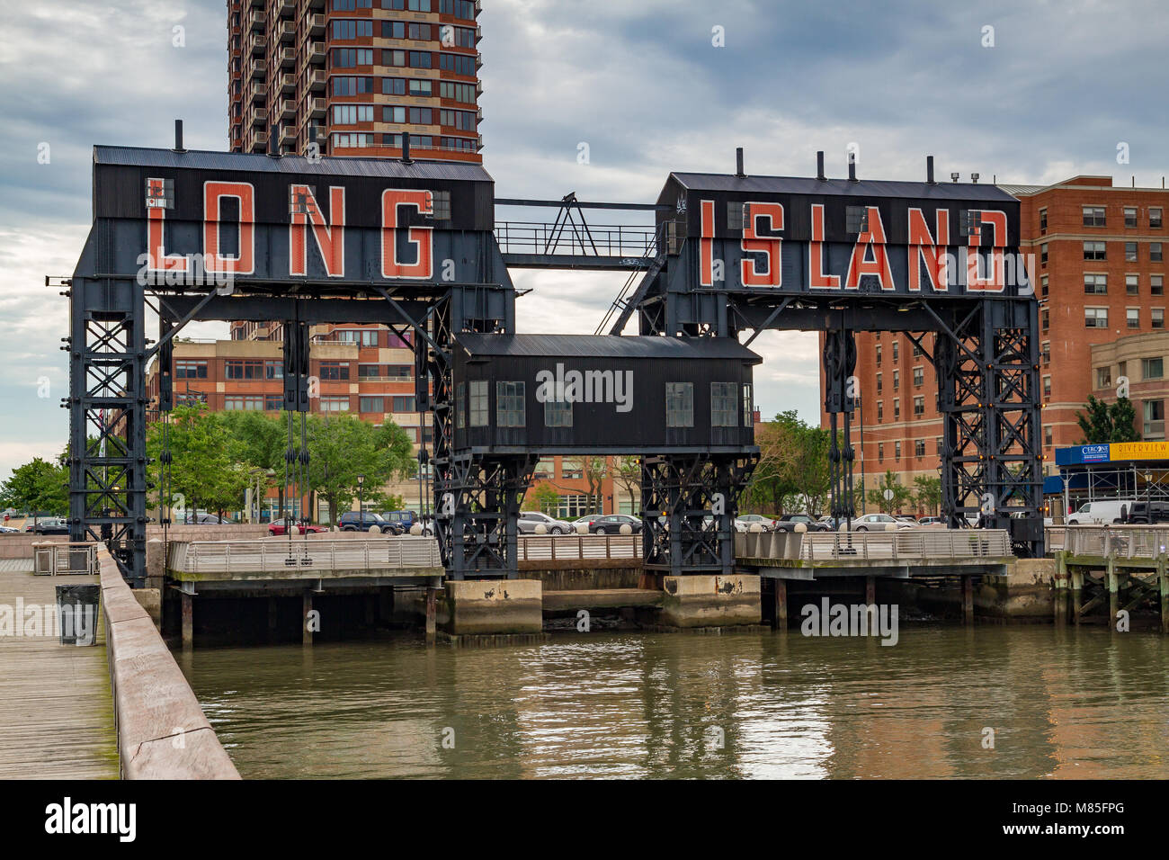Industrial transfer bridges at Gantry Plaza State Park in Long Island CIty in the borough of Queens, NYC - Stock Image