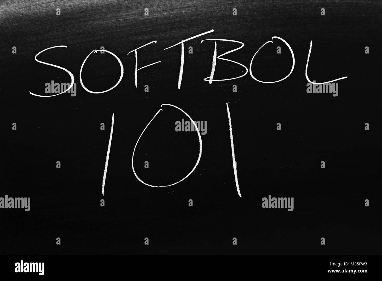 The words Softbol 101 on a blackboard in chalk - Stock Image