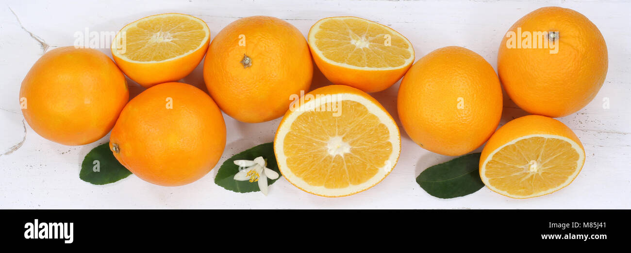 Oranges orange fruits banner top view from above - Stock Image