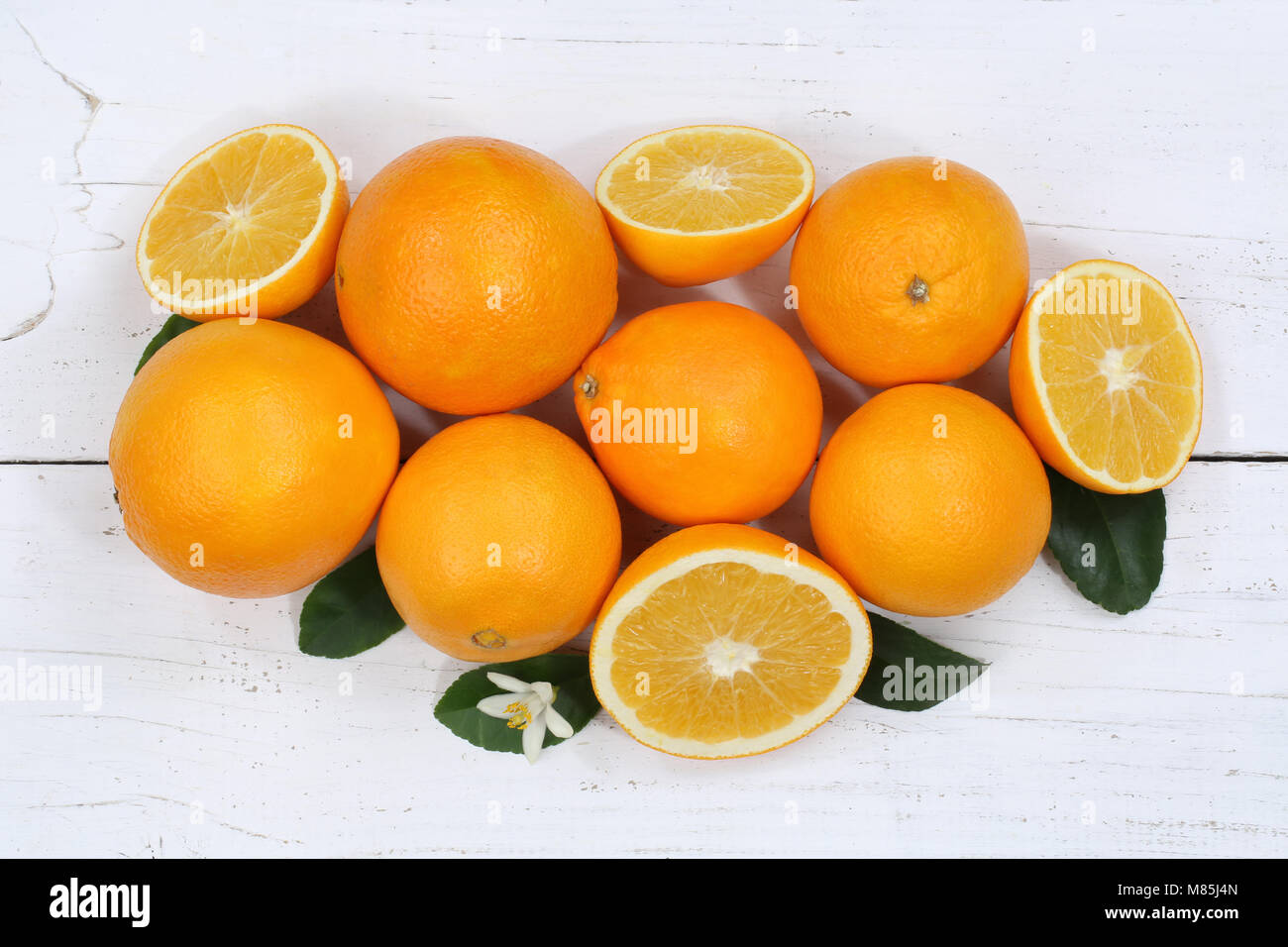 Oranges orange fruits top view from above - Stock Image