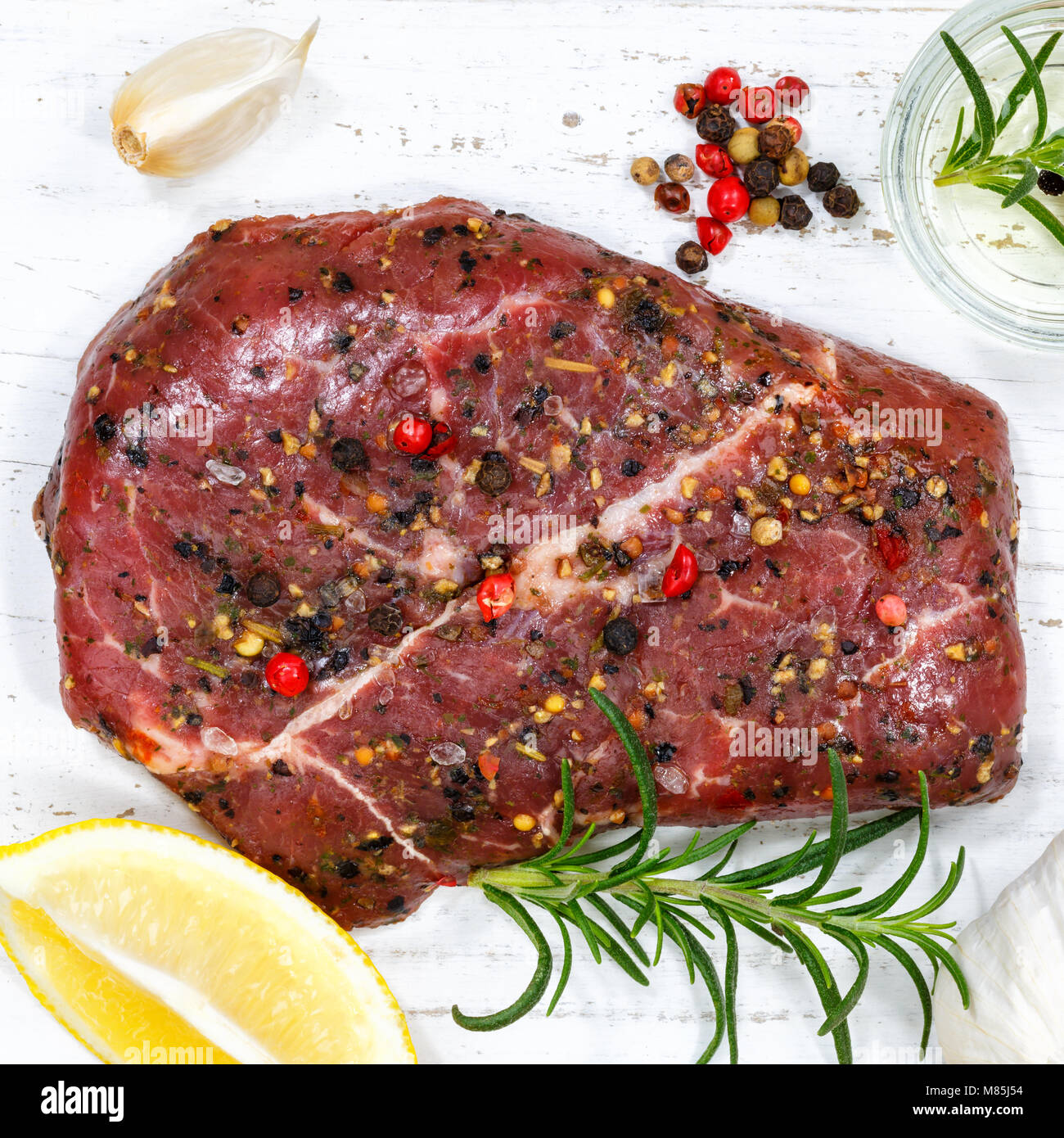 Meat raw beef steak square top view from above - Stock Image